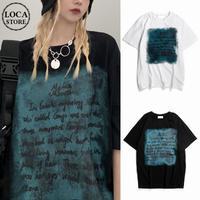 ユニセックス Tシャツ 半袖 レタープリント 英字 ラウンドネック オーバーサイズ トップス 大きめ カジュアル ストリートファッション DTC-640058576164