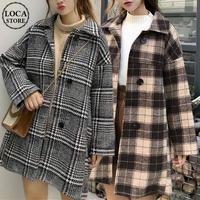 チェックコート シングルブレスト 韓国 ファッション レディース コート チェック柄 アウター ウールコート シングルブレスト レトロ (DTC-603665766891)