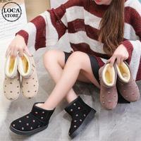 イチゴ模様 ムートンブーツ ショート丈 韓国ファッション レディース ファーブーツ もこもこ 歩きやすい 履きやすい (DTC-606310721317)