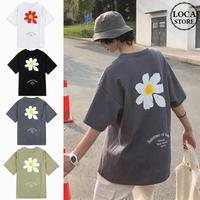 ユニセックス Tシャツ 半袖 メンズ レディース ラウンドネック 英字 一片の花 フラワープリント オーバーサイズ 大きいサイズ ルーズ ストリート TBN-612073156517