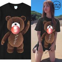 ユニセックス 半袖 Tシャツ メンズ レディース かわいい クマちゃん ベアー プリント オーバーサイズ 大きいサイズ ルーズ ストリート TBN-610903374055