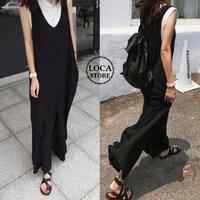 レディース サロペット オールインワン ワイドパンツ ノースリーブ ワイドパンツ 韓国ファッション (DCT-565140315743)