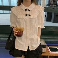 ブラウス フリル リボン 韓国ファッション レディース トップス シャツ 半袖 ゆったり 大人可愛い ガーリー DTC-620294644487