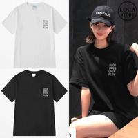 ユニセックス 半袖 Tシャツ メンズ レディース シンプル 英字 ワンポイント プリント オーバーサイズ 大きいサイズ ルーズ ストリート TBN-592455838090