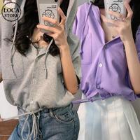 クロップド丈 パーカー フロントボタン 裾絞り 半袖 薄手 ルーズ 韓国ファッション レディース ショート丈 トップス 無地 カジュアル DTC-638972963610