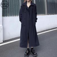 ロングコート ベルト付き ダブルブレスト 韓国ファッション レディース トレンチコート 長袖 ゆったり 大人カジュアル 大人可愛い ガーリー DTC-630621959680