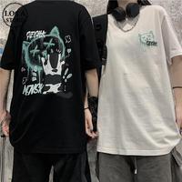 ユニセックス Tシャツ ネコプリント バックプリント 半袖 韓国ファッション メンズ レディース 大きめ ルーズ カジュアル ストリート系 DTC-638753135798