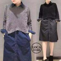 レディース ドッキングワンピース デニムシャツ ワンピース ニット マタニティ ガーリー フェミニン 韓国ファッション (DCT-557459370190)