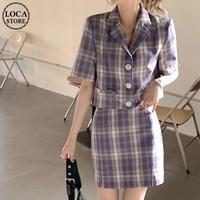 セットアップ チェック柄 クロップドジャケット + スカート ハイウエスト 韓国ファッション レディース ジャケット クロップド丈 半袖 大人可愛い ガーリー DTC-642494056922