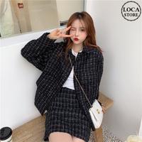 セットアップ チェック柄 ジャケット + スカート 韓国ファッション レディース 春 秋 ハイウエスト レトロ DTC-604443914399
