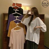 Tシャツ 半袖 薄手 透け感 韓国ファッション レディース トップス Vネック オーバーサイズ カジュアル ガーリー ストリート DTC-620858982953