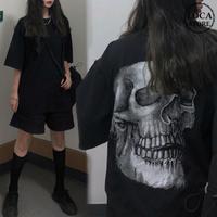 ユニセックス Tシャツ 半袖 メンズ レディース ラウンドネック シンプル どくろ スカル プリント オーバーサイズ 大きいサイズ ルーズ ストリート TBN-597191250710