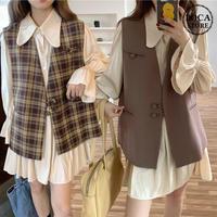 セットアップ チェック柄 無地 ベストジャケット + ワンピース 韓国ファッション レディース 2点セット プリーツスカート ハイウエスト 大人可愛い ガーリー DTC-627258818595