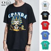UPANDA 【5カラー】ユニセックス メンズ/レディース 半袖 Tシャツ ファラオパンダプリント ストリート系 人気 インスタ (DCT-595652805618)