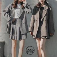セットアップ チェック柄 テーラードジャケッ + プリーツスカート 韓国ファッション レディース ジャケット ミニスカート シンプル ダブルブレスト レトロ (DTC-586851144853)