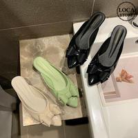 【Soervimy】 ラバーミュール レインシューズ ラバーサンダル ヒール4cm リボン 韓国ファッション レディース チャンキーヒール 雨 梅雨 ラバー 防水 61741167237