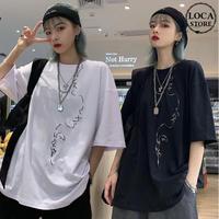 ユニセックス Tシャツ 半袖 メンズ レディース ラウンドネック ライン ポートレート 刺繍 オーバーサイズ 大きいサイズ ルーズ ストリート TBN-596203650081