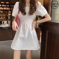 ワンピース ミニ丈 Aライン ホワイト スクエアネック 韓国ファッション レディース 白 ハイウエスト シンプル ガーリー DTC616628163164_wt
