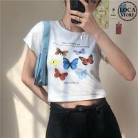 Tシャツ 半袖 袖切りっぱなし ショート丈 バタフライ ホワイト 韓国ファッション レディース 蝶 DTC-614247121002_wt