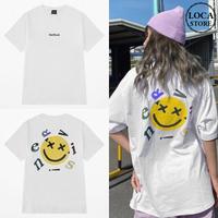 ユニセックス Tシャツ 半袖 メンズ レディース ニコちゃんマーク スマイリー プリント オーバーサイズ 大きいサイズ ルーズ ストリート TBN-624407433034