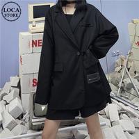 サイドベルト テーラードジャケット ユニセックス 韓国ファッション レディース メンズ シングルブレスト ルーズ ゆったり フォーマル 大人可愛い ガーリー DTC-625445762684