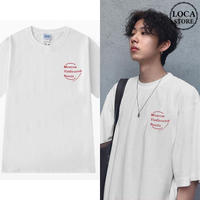 Tシャツ 半袖 メンズ レディース ユニセックス ラウンドネック シンプル 英字 プリント オーバーサイズ 大きいサイズ ルーズ ストリート TBN-598421115951