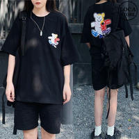 ユニセックス Tシャツ 半袖 メンズ レディース 落書き風 クマちゃん ベアー プリント オーバーサイズ 大きいサイズ ルーズ ストリート DTC-616567993304