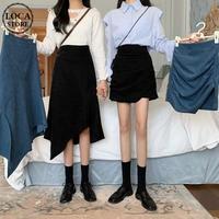 【2点セット】 ミニスカート & ロングスカート ラップ風 ヘムライン 不規則デザイン アシンメトリー ハイウエスト 韓国ファッション 大人可愛い ガーリー DTC-624794209402