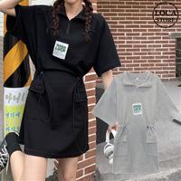ポロワンピース ウエストマーク ジップアップ 半袖 ポケット 薄手 韓国ファッション レディース ポロシャツ ワンピース 大人カジュアル ガーリー DTC-641565290818