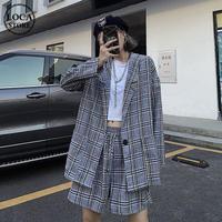 セットアップ チェック柄 ジャケット + ショートパンツ 韓国ファッション レディース 薄い ガジュアル 大人可愛い 大人ガジュアル ガーリー DTC-624101211694
