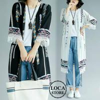 レディース エスニック調 レトロ ロングカーディガン 裾切りっぱなし風デザイン 7分袖 (DCT-590253513716)