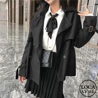 レディース ショート丈 コート トレンチコート ジャケット ブラック フェミニン 韓国ファッション (DCT-580519448514_B)