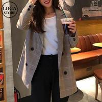 レディース チェック柄ダブルテーラードジャケット 春 ライトアウター コート 韓国ファッション オルチャン (DCT-586962198118)