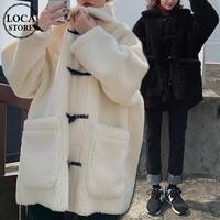ボア ダッフルコート 韓国ファッション レディース もこもこ 防寒 ハーフコート アウター ホーンバックル ホワイト ブラック 秋冬 秋 冬 (DTC-606392362025)