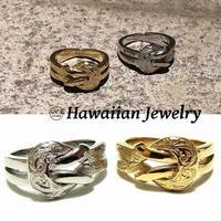 ハワイアンジュエリー リング 指輪 メンズ レディース ペアリング スクロール プルメリア サージカル ステンレス 金属アレルギー対応 (grs8659)