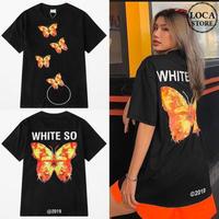 ユニセックス 半袖 Tシャツ メンズ レディース バタフライ 蝶 プリント オーバーサイズ 大きいサイズ ルーズ ストリート TBN-615920139775