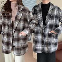 チェック柄 チェスターコート ルーズ シングルブレスト 韓国ファッション レディース コート シングルボタン 大人可愛い ガーリー DTC-631667786680