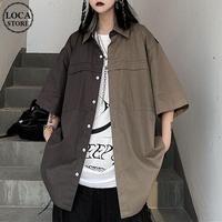 ユニセックス バイカラー シャツ 半袖 オーバーサイズ 大きめ  韓国ファッション メンズ レディース トップス 男女兼用 カジュアル ストリート ファッション DTC-640642012681