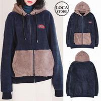 ユニセックス フード ボアブルゾン バイカラー 韓国 ファッション メンズ レディース ストリート ボアジャケット ボア もこもこ 秋 冬 オーバーサイズ (DTC-607102746491)