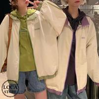 レディース ラインデザイン オーバーサイズ ジップアップブルゾン アフター ジャケット 春 秋 薄手 韓国 韓国ファッション (DTC-602387507401_011)