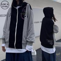 ユニセックス バイカラー パーカー ジップアップ 長袖 オーバーサイズ ゆったり 韓国ファッション レディース カジュアル ストリートファッション DTC-652745978761
