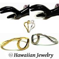 ハワイアンジュエリー リング 指輪 波 ウェーブ K14イエローゴールドコーティング インスタ メンズ レディース ペア (grs8626)