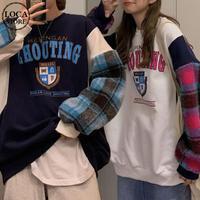トレーナー 袖ファー チェック ボリューム オーバーサイズ 韓国ファッション レディース スウェット ラウンドネック 長袖 ゆったり 大人可愛い ガーリー DTC-628549468117