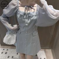 ワンピース ビジューボタン スクエアネック パフスリーブ 長袖 ハイウエスト 韓国ファッション レディース 大人可愛い ガーリー フェミニン DTC-639398062094