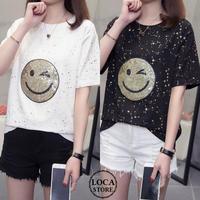 レディース スパンコール ニコちゃんマーク Tシャツ 星プリント ラウンドネック 大きいサイズ 韓国ファッション (DCT-593272072025)