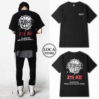 ユニセックス メンズ/レディース バックプリント ロゴ Tシャツ 半袖 ストリート系 ペア 韓国ファッション (DCT-565951424772)