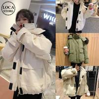 ファーブルゾン ダウンジャケット 韓国ファッション レディース ルーズ ジャンパー ゆったり ファーフード 体型カバー 大人カジュアル 韓国 (DTC-606322579577)