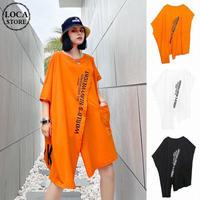 アシンメトリー ロングTシャツ 半袖 韓国ファッション レディース トップス 変形デザイン 大きいサイズ Tシャツワンピース ラウンドネック ガーリー ストリート DTC-616939356433