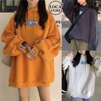 プルオーバー パーカー 袖ライン 起毛 ボリューム袖 韓国ファッション ビッグパーカー オーバーサイズ ストリートファッション (DTC-607463580253)