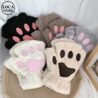 【5カラー】 猫の手 肉球 手袋 韓国ファッション レディース ハーフフィンガー ハンドウォーマー ネコ もこもこ スマホ対応 DTC-609167752977